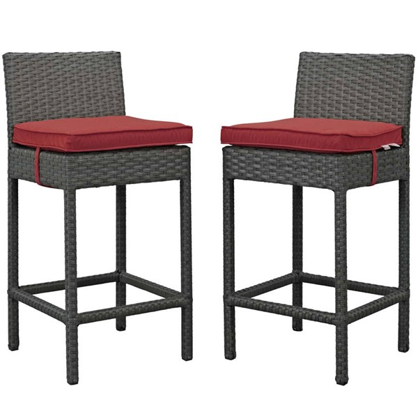 2 Modway Furniture Sojourn Red Outdoor Sunbrella Bar Stools EEI-2195-CHC-RED-SET