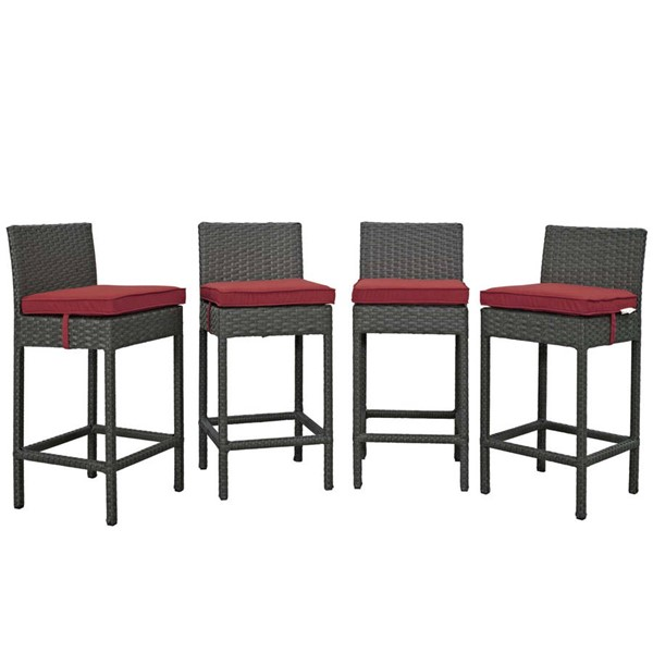 4 Modway Furniture Sojourn Red Outdoor Sunbrella Bar Stools EEI-2196-CHC-RED-SET