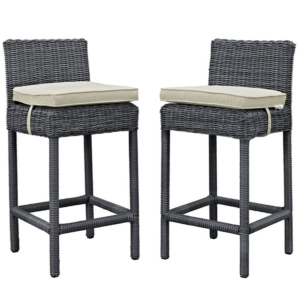 2 Modway Furniture Summon Beige Outdoor Patio Bar Stools EEI-2197-GRY-BEI-SET