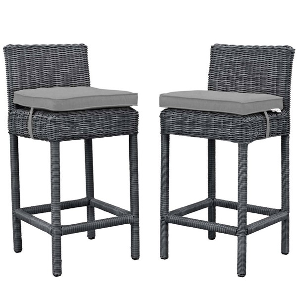 2 Modway Furniture Summon Gray Outdoor Patio Bar Stools EEI-2197-GRY-GRY-SET