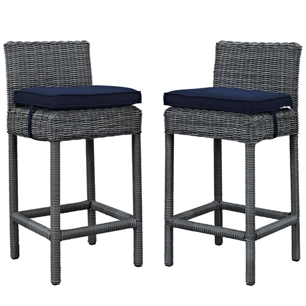 2 Summon Navy Fabric Rattan Outdoor Patio Bar Stools EEI-2197-GRY-NAV-SET