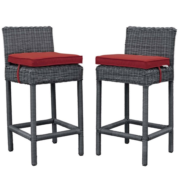 2 Modway Furniture Summon Red Outdoor Patio Bar Stools EEI-2197-GRY-RED-SET