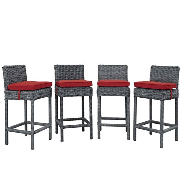 4 Modway Furniture Summon Red Outdoor Sunbrella Bar Stools EEI-2198-GRY-RED-SET