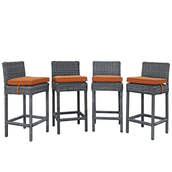 4 Summon Tuscan Fabric Rattan Outdoor Patio Bar Stools EEI-2198-GRY-TUS-SET