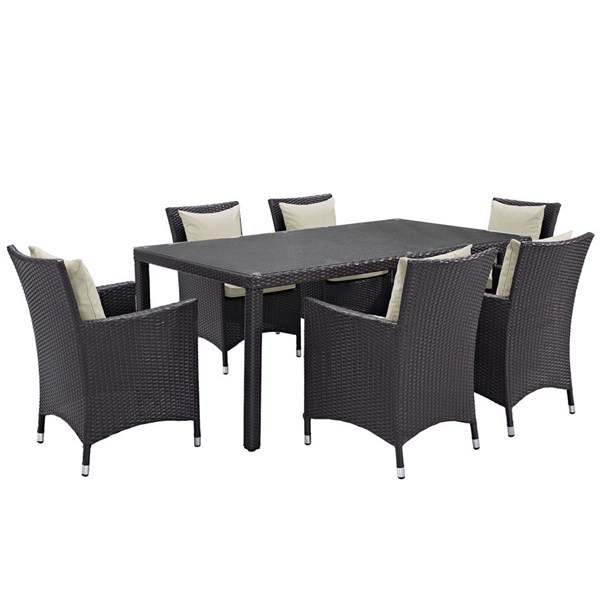 Convene Beige Rattan Glass Aluminum 7pc Outdoor Patio Dining Set EEI-2199-EXP-BEI-SET