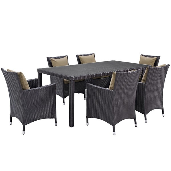 Modway Furniture Convene Espresso Mocha 7pc Rectangle Outdoor Patio Dining Set EEI-2199-EXP-MOC-SET