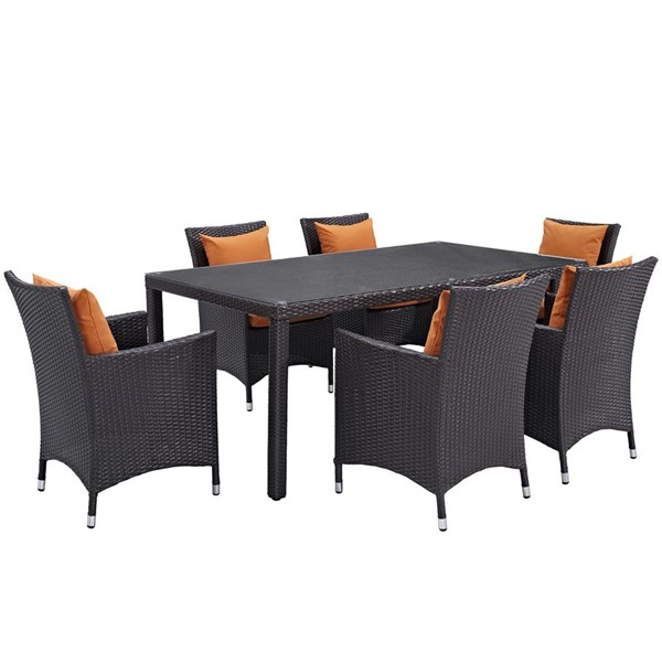 Convene Orange Rattan Glass Aluminum 7pc Outdoor Patio Dining Set EEI-2199-EXP-ORA-SET