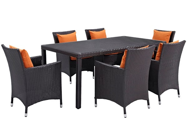 Modway Furniture Convene Espresso Orange 7pc Rectangle Outdoor Patio Dining Set EEI-2199-EXP-ORA-SET