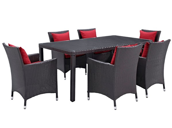 Modway Furniture Convene Espresso Red 7pc Rectangle Outdoor Patio Dining Set EEI-2199-EXP-RED-SET