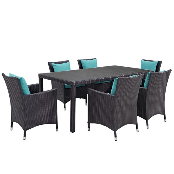 Convene Turquoise Rattan Glass 7pc Outdoor Patio Dining Set EEI-2199-EXP-TRQ-SET