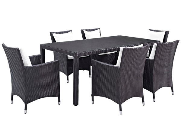 Modway Furniture Convene Espresso White 7pc Rectangle Outdoor Patio Dining Set EEI-2199-EXP-WHI-SET