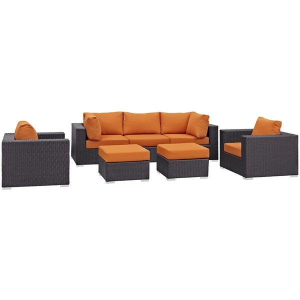 Modway Furniture Convene Espresso Orange Fabric 7pc Outdoor Patio Sofa Set EEI-2200-EXP-ORA-SET