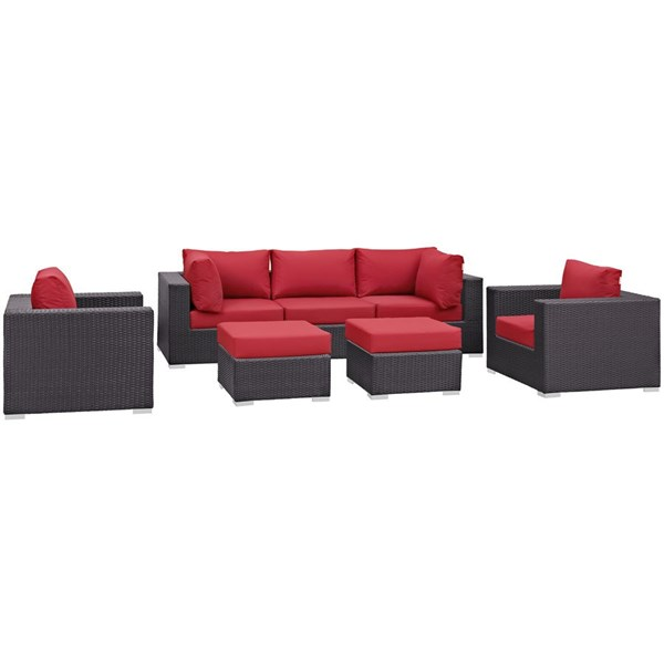 Modway Furniture Convene Espresso Red Fabric 7pc Outdoor Patio Sofa Set EEI-2200-EXP-RED-SET