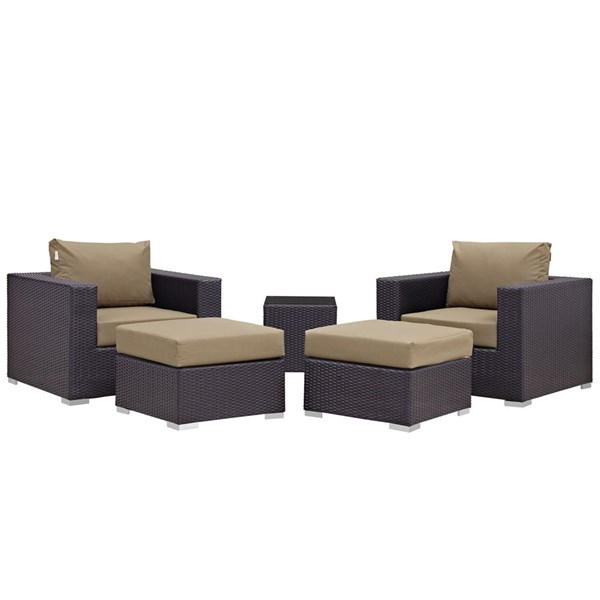 Modway Furniture Convene Espresso Mocha 5pc Outdoor Patio Chair and Ottoman EEI-2201-EXP-MOC-SET
