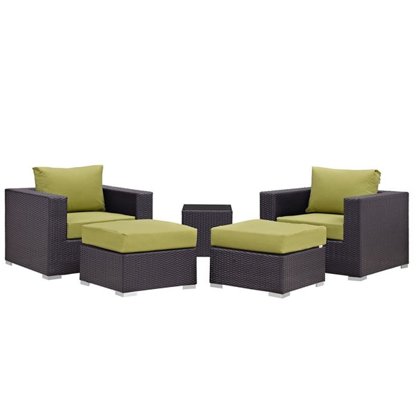 Convene Peridot Fabric Rattan 5pc Outdoor Patio Chair & Ottoman Set EEI-2201-EXP-PER-SET