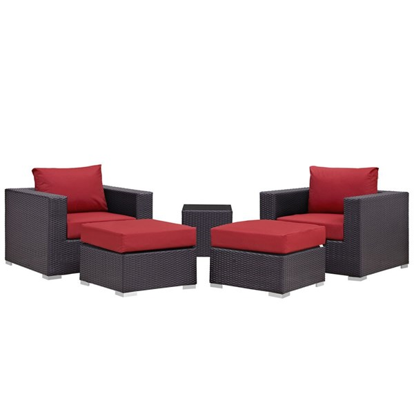 Convene Red Fabric Rattan 5pc Outdoor Patio Chair & Ottoman Set EEI-2201-EXP-RED-SET