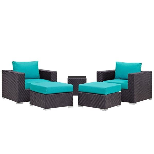 Modway Furniture Convene Espresso Turquoise 5pc Outdoor Patio Chair and Ottoman EEI-2201-EXP-TRQ-SET