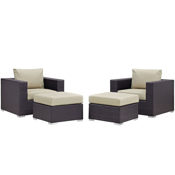 Modway Furniture Convene Espresso Beige 4pc Outdoor Patio Chair and Ottoman EEI-2202-EXP-BEI-SET