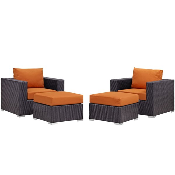 Modway Furniture Convene Espresso Orange 4pc Outdoor Patio Chair and Ottoman EEI-2202-EXP-ORA-SET