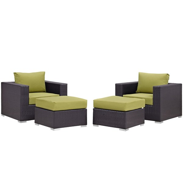 Modway Furniture Convene Espresso Peridot 4pc Outdoor Patio Chair and Ottoman EEI-2202-EXP-PER-SET