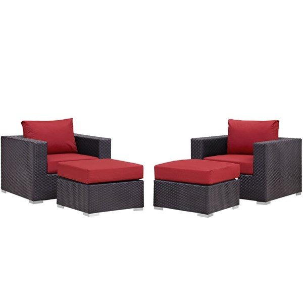 Modway Furniture Convene Espresso Red 4pc Outdoor Patio Chair and Ottoman EEI-2202-EXP-RED-SET