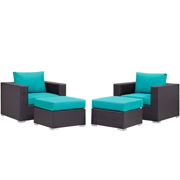 Modway Furniture Convene Espresso Turquoise 4pc Outdoor Patio Chair and Ottoman EEI-2202-EXP-TRQ-SET