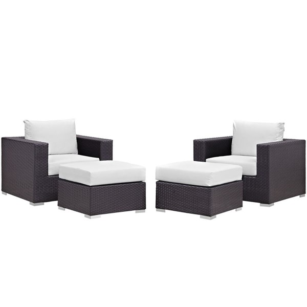 Modway Furniture Convene Espresso White 4pc Outdoor Patio Chair and Ottoman EEI-2202-EXP-WHI-SET