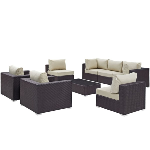 Modway Furniture Convene Espresso Beige 8pc Outdoor Patio Sofa Set EEI-2203-EXP-BEI-SET