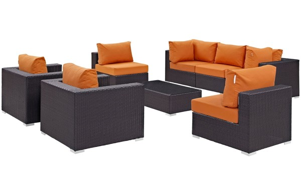 Modway Furniture Convene Espresso Orange 8pc Outdoor Patio Sofa Set EEI-2203-EXP-ORA-SET