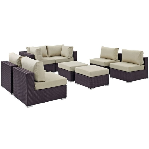 Modway Furniture Convene Espresso Beige Fabric 8pc Outdoor Patio Sofa Set EEI-2204-EXP-BEI-SET