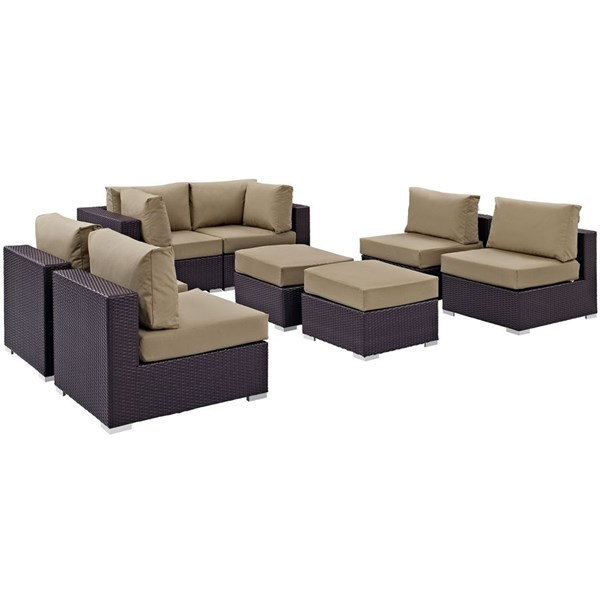 Modway Furniture Convene Espresso Mocha Fabric 8pc Outdoor Patio Sofa Set EEI-2204-EXP-MOC-SET