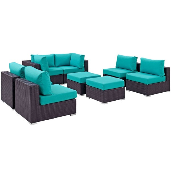 Modway Furniture Convene Espresso Turquoise Fabric 8pc Outdoor Patio Sofa Set EEI-2204-EXP-TRQ-SET