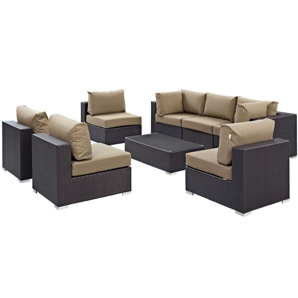 Convene Espresso Mocha Fabric Glass Rattan 8pc Outdoor Sofa Set EEI-2205-EXP-MOC-SET