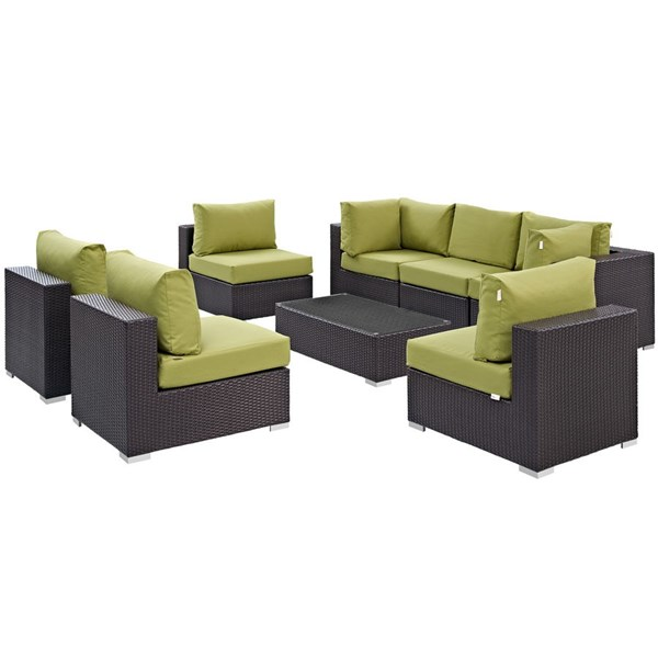 Modway Furniture Convene Peridot 8pc Outdoor Patio Sofa Set EEI-2205-EXP-PER-SET