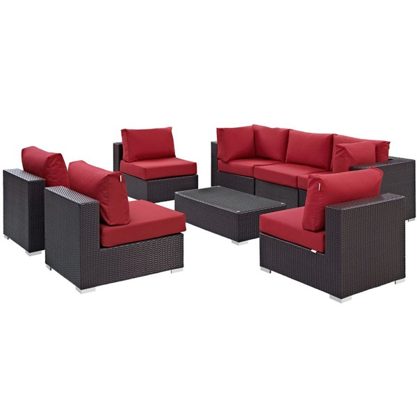 Modway Furniture Convene Red 8pc Outdoor Patio Sofa Set EEI-2205-EXP-RED-SET