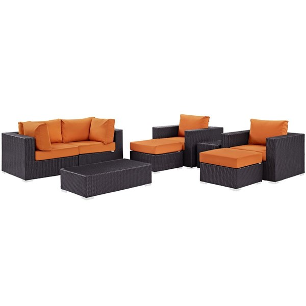Modway Furniture Convene Orange Fabric 8pc Outdoor Patio Sofa Set EEI-2206-EXP-ORA-SET