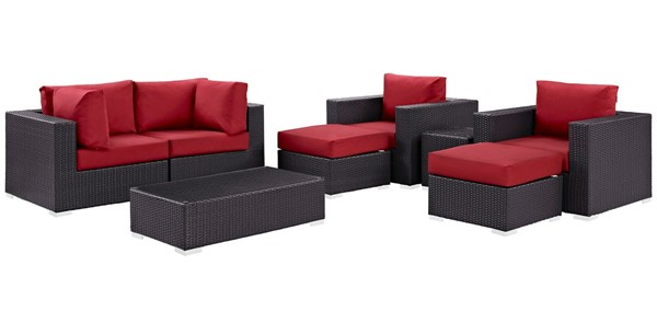 Modway Furniture Convene Red Fabric 8pc Outdoor Patio Sofa Set EEI-2206-EXP-RED-SET