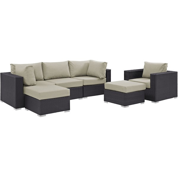 Convene Espresso Beige Fabric Rattan 6pc Outdoor Patio Sectional Sets EEI-2207-OS-SS-VAR