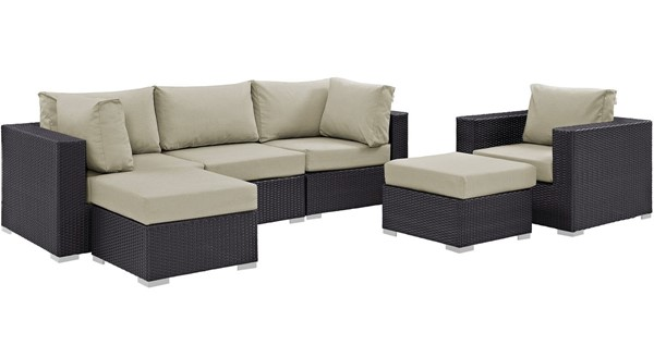 Modway Furniture Convene Espresso Beige 6pc Outdoor Patio Sectional Set EEI-2207-EXP-BEI-SET