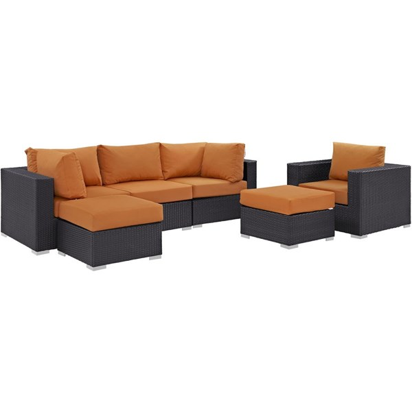 Convene Espresso Orange Fabric Rattan 6pc Outdoor Patio Sofa Set EEI-2207-EXP-ORA-SET