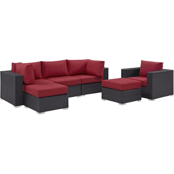Convene Espresso Red Fabric Rattan 6pc Outdoor Patio Sofa Set EEI-2207-EXP-RED-SET