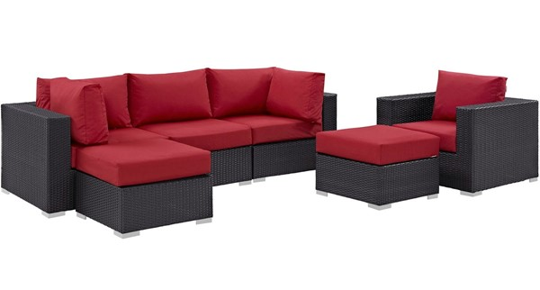 Modway Furniture Convene Espresso Red 6pc Outdoor Patio Sectional Set EEI-2207-EXP-RED-SET