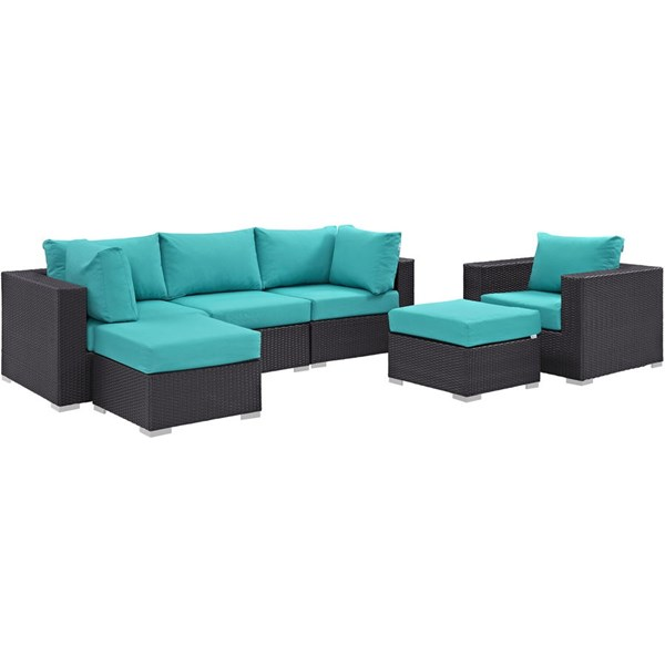 Modway Furniture Convene Espresso Turquoise 6pc Outdoor Patio Sectional Set EEI-2207-EXP-TRQ-SET