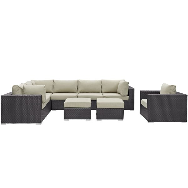Convene Espresso Beige Fabric Rattan 9pc Outdoor Patio Sectional Sets EEI-2208-OS-SEC-VAR