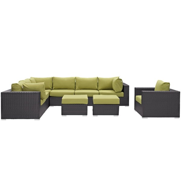 Modway Furniture Convene Espresso Peridot 9pc Outdoor Patio Sectional Set EEI-2208-EXP-PER-SET