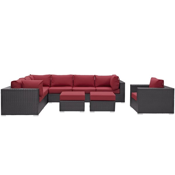 Convene Espresso Red Fabric Rattan 9pc Outdoor Patio Sectional Set EEI-2208-EXP-RED-SET