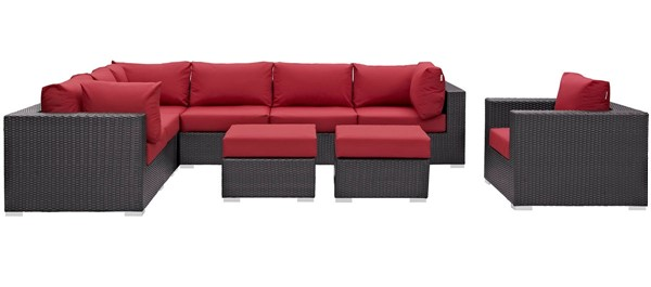 Modway Furniture Convene Espresso Red 9pc Outdoor Patio Sectional Set EEI-2208-EXP-RED-SET