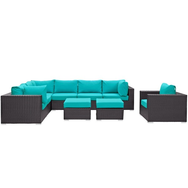 Convene Turquoise Fabric Rattan Glass 9pc Outdoor Patio Sectional Set EEI-2208-EXP-TRQ-SET