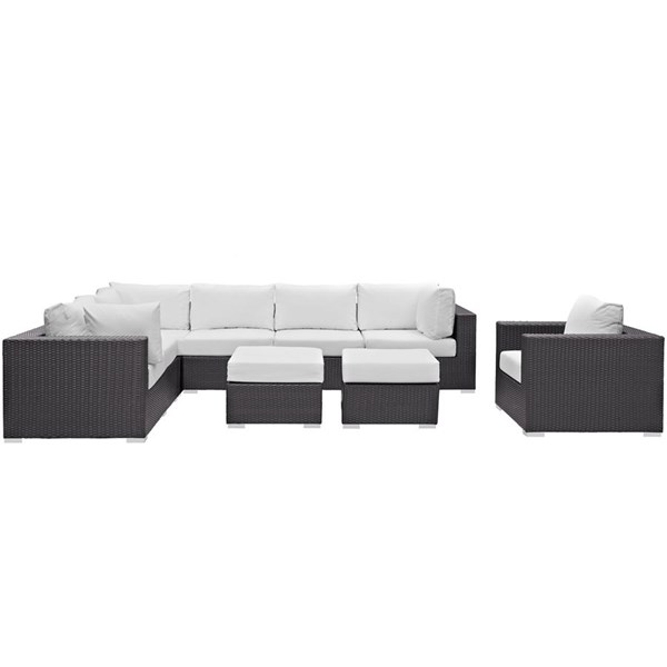 Modway Furniture Convene Espresso White 9pc Outdoor Patio Sectional Set EEI-2208-EXP-WHI-SET