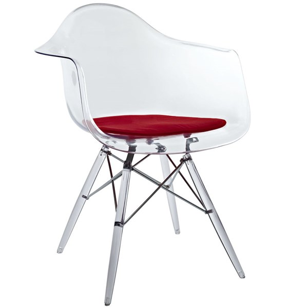 Pyramid Modern Red Plastic Steel PP Dining Armchair EEI-221-RED